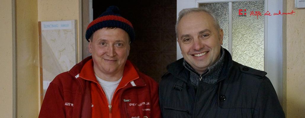 Igor und Oleg fahren mit mir zum Rehazentrum